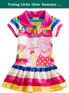 Yuting Little Girls' Summer Peppa Pig Dress,lapel Rainbow Color 2-7t (5/6y). please choose a size 1-2size bigger such as your kids now 2t,you can choose 2/3y or 3/4y.