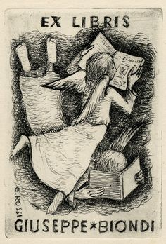 Book plate depicting A young girl and young boy with wings, reading. | University Libraries