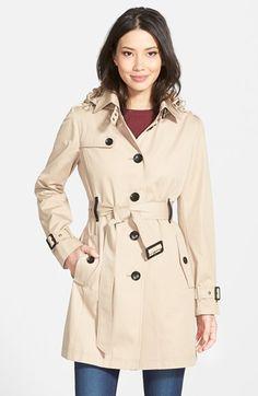 MICHAEL Michael Kors Single Breasted Raincoat (Regular & Petite) | Nordstrom