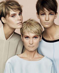 Inspiração para as mulheres que têm ou desejam um dia criar coragem para cortar o cabelo bem curtinho. Três super curtos combinados com looks em referência à década de 60.