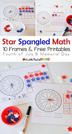 Star Spangled Math Activities, 10 Frames, and Free Printables - perfect to do around 4th of July or on Memorial Day!