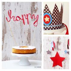Promoción marzo! Fiesta Stars con banderín de tela, topper de tarta y corona de tela. Cumpleaños de niño perfecto. Ahorra con esta opción!