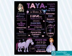 Birthday Chalkboard Sign Sofia the First by PoshPaisleyBoutique