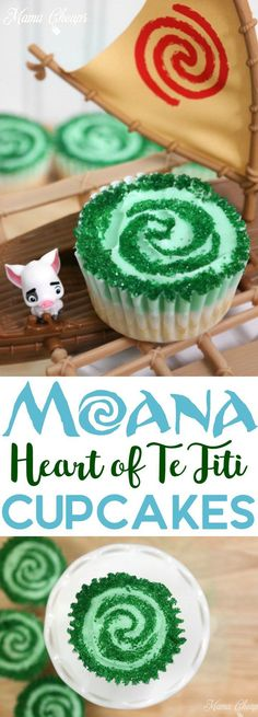 Heart of Te Fiti Moana Cupcakes - perfect treats for a Disney or Moana inspired party!!