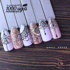 various - Nails ideas Dream Nails, Love Nails, Pretty Nails, Henna Nails, Henna Nail Art, Art Deco Nails, Mandala Nails, Nagel Gel, Winter Nails