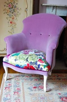 A trend popping up a lot in British design is to take a classic furniture shape, like this wingback chair, and have it re-covered in bright colors or modern floral prints. The result is unexpected and totally unique — I want to try this with my next thrift shop find.