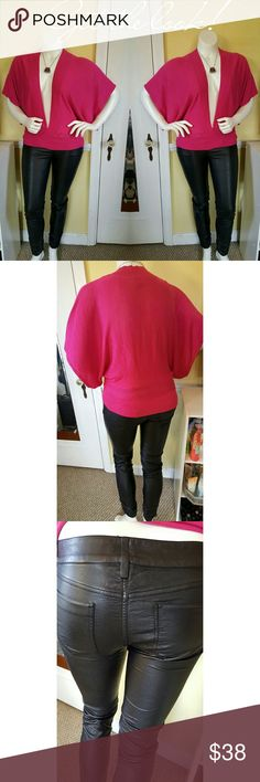 Bundle deal: Faux leather pants and sweater. Complete outfit: Fushia deep V sweater. NWOT, never been worn. Size large. Faux leather skinny pants with roughing at the ankles. These pants look and feel just like real leather. They are of great quality. Size large NWT. Never been worn. Pants Skinny