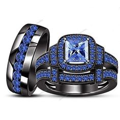 Blue Sapphire 14k Black Gold Bridal Wedding His and Hers Band Trio Rings Sets