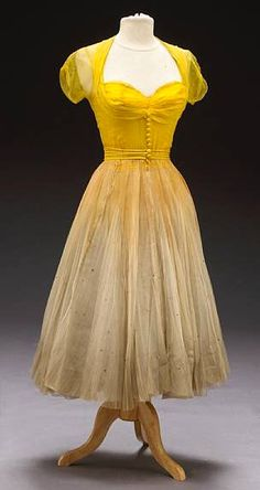 Yellow and cream chiffon dress by Helen Rose, 1953