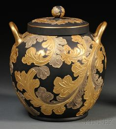 Wedgwood, 1885.  Auro Basalt Potpourri and Cover.  Incredible art.