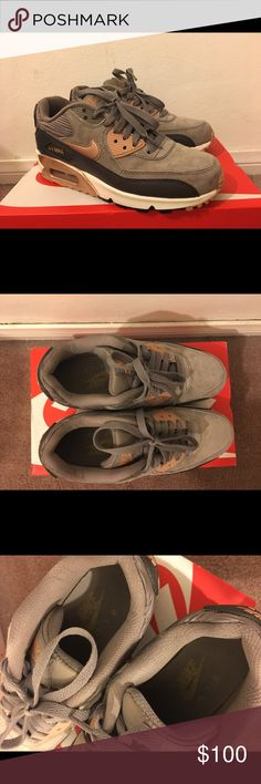 Nike Air Max 90 Grey and Bronze Trainers Size 6!! Worn twice Nike Shoes Sneakers