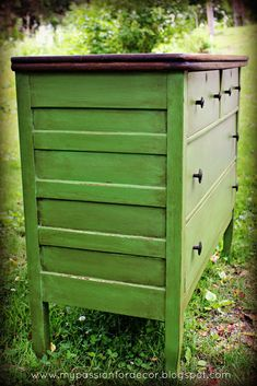 My Passion For Decor: White And Neglected Craigslist Dresser Turned Green Beauty