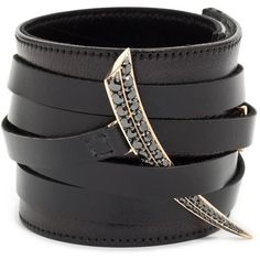 Rose Gold and Black Diamond Leather Cuff Shaun Leane ($9,055) ❤ liked on Polyvore