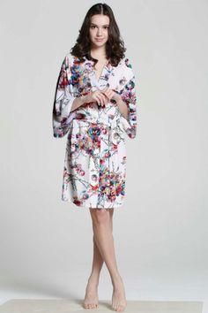 06d4da2c1b33 White Cotton Robe Floral Silk Robe Plus Size Bath Robe Dressing Gown For  Women Kimono Satin Robes Bath Towl Robe Shopping Dressing
