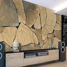 Stein Tapete Wohnzimmer Dekoration Decorations Home İdeen ... Wohnzimmer Ideen Mit Steintapete