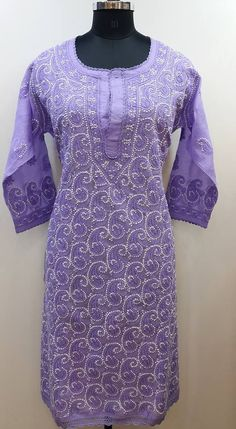Lucknow Chikan Exclusif Sarabsons Shop No 101, Naveen Market, Kanpur. Lucknowi Chikankari Hand Embroidered Kurti Purple Cotton Rs. 2,850.00 only. Free Shipping. COD. Order on Call / Whatsapp +91-9918602101 or click to Buy Online