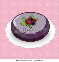 Picture of mousse cake with fruit filling decorated by wild berries.The cake is on the pink polka dotted background.