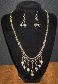 Jewelry / Necklace and earrings / Golden Trim Cloisonne and Hematite/ Beautiful   $45.95