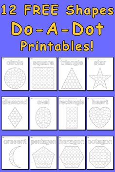 12 FREE Shape Do-A-Dot Worksheets to work on fine motor skills for pre-school learners!