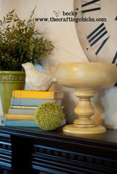 Wooden pedestal bowls from thrift store finds.