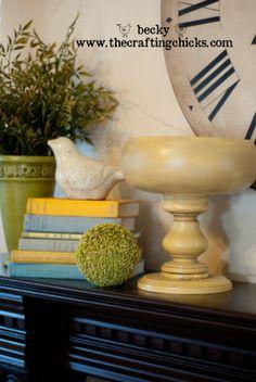 DIY wodden pedestal bowls