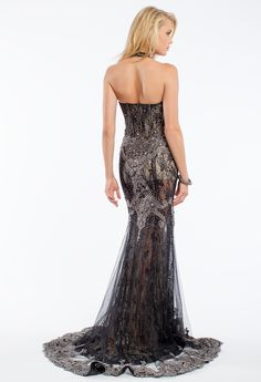 Two-Tone Embroidered Halter Prom Dress #camillelavie #CLVprom