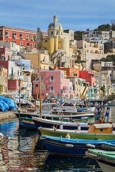 Procida Island, Naples, Italy #italy #beauty #travel #cruise