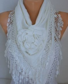 White Knitted Floral Scarf, Wedding Shawl,Bridal Shawl Cowl Lace Bridesmaid  Gift Gift For Her,Women Fashion Accessories 3720872d15d