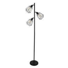 Industrial Three Cage Floor Lamp with Bulbs