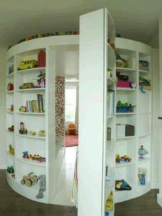 Great bookshelves and hidden door!