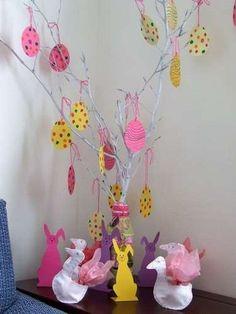 Albero di Pasqua fai da te - Decorazioni di cartone colorate per l'albero