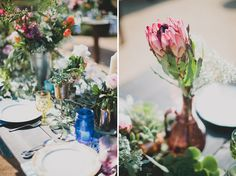 Protea. Ranch Bohemian Red Tail wedding inspiration. Vintage-inspired lounges + eclectic, southwestern-styled tablescapes. Photography: Katie Pritchard. Location: private residence in Ojai, California.