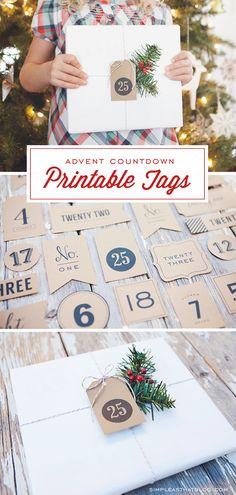 FREE Printable Advent Calendar / Christmas Countdown Tags
