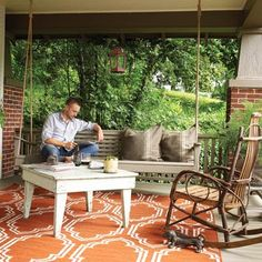Bring the Living Room Outside    Have a humdrum porch? A basic patio or a neglected deck? Some simple additions—a hanging swing, mood lighting, a vintage find or two—are all it takes to transform an ordinary outdoor space into an open-air living room that adds value and comfort to your home year-round