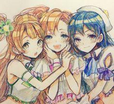 Zhuly, Jackie y Gynn Love Live School Idol Project, Anime Friendship, Copic, Anime Artwork, Best Friends Forever, Manga Pictures, Manga Drawing, Kawaii Anime, Anime Manga