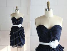 Navy Blue Chiffon Bridesmaid Dress Prom Dress by misdress on Etsy, $92.99