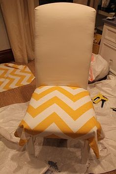 Office Makeover Part 3: DIY Chair Make over! This would be a great idea for a dining room table as well.