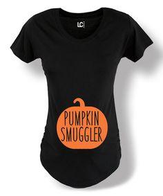Look at this #zulilyfind! Black 'Pumpkin Smuggler' Maternity Tee #zulilyfinds