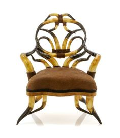 A Victorian Style Faux Horn Armchair, Height 3 1/8 inches.