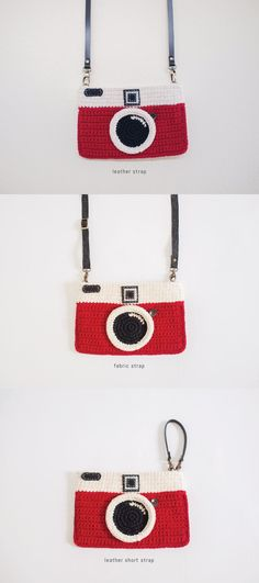 Crochet Vintage Camera Purse Red Color by meemanan on Etsy
