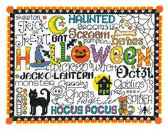 Imaginating Let's Trick or Treat - Cross Stitch Pattern. Model stitched on 14 ct White Aida using DMC floss. Stitch count 107x137.