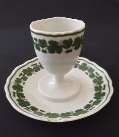 Meissen Egg Cup Green Vine Grape Vine Germany Saucer Scalloped Edge Easter