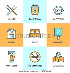 Line Icons Set With Flat Design Elements Of Motel Accommodation Services Small Hotel General Amenities Parking And No Smoking Sign Open For 24 Hours