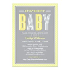 Baby Shower | Chic Type in Yellow and Gray Card