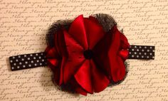 Holiday Fabric Flower with Black Lace by bellamariacreations