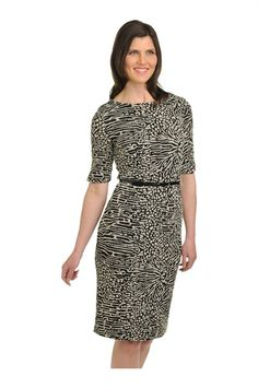 Tan Jay:  Elbow Sleeve Wide Crew with Belt Dress
