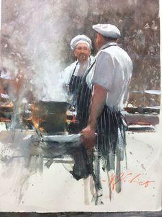 Joseph Zbukvic - Kitchen Gossip 25x36cm