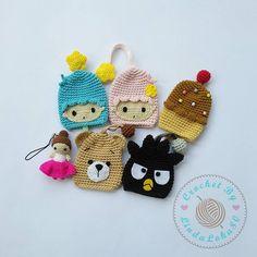 Crochet Key Cover, Crochet Case, Cute Crochet, Crochet Dolls, Easy Crochet, Crochet Poncho Patterns, Amigurumi Patterns, Crochet Flower Tutorial, Crochet Flowers