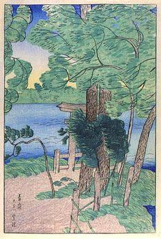 A Windy Day in Early Summer (Blue Storm) by Shiro Kasamatsu, 1919   (published by Watanabe Shozaburo)