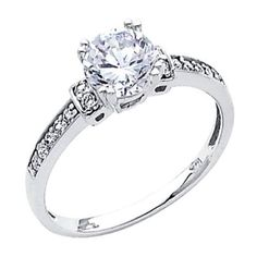 14K White Gold Round-cut Solitaire with Side Stone CZ Cubic Zirconia 1.25 CT Equivalent Ladies Wedding Engagement Ring Band: Jewelry: Amazon.com